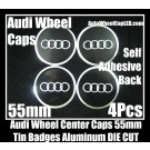 AUDI Wheel Center Caps Emblems Tin Stickers Aluminum 55mm DIE CUT Roundels 3D 4Pcs Set