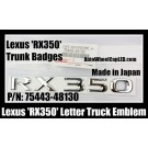 Lexus 'RX350' Chrome Silver Emblems Letters Rear Trunk Stickers P/N 75443-48130 Made in Japan