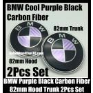 BMW Purple Black Carbon Fiber 2Pcs 82mm Hood Trunk Emblems Bonnet Boot Badges Set