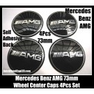 AMG Mercedes Benz Black Wheel Center Caps Emblems Hubs Roundels Badges 73mm Stickers 4Pcs