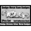 Dodge 2Pcs Metal Chrome Silver Emblems Hood Trunk Badges Head Grill Tailgate Ram Badge Avenger Caliber Challenger