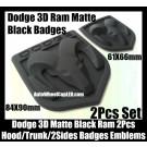 Dodge 2Pcs 3D Ram Matte Black Emblems Hood Trunk Bonnet Boot Badges Grill Tailgate Avenger Caliber Challenger 61X66 84X90mm