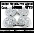 Dodge Metal Ram Silver Wheel Center Hubs Caps 60mm 4Pcs Roundel Emblems Badges Tailgate Avenger Caliber Challenger