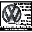VW Volkswagen Matte White Black Front Grille Emblem Badge Golf 6 MK6 GTI GTIs R20 New Polo Jetta Magotan Bonnet Hood