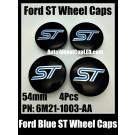 Ford ST Black Blue 54mm Wheel Center Caps Emblems PN 6M21-1003-AA Focus Fiesta Escape Mondeo Roundels Badges 4Pcs