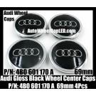 Audi 69mm Gloss Black Wheel Center Emblems Caps 4B0 601 170 A 3.0T 2.0T A3 A4 A5 A6 A7 A8 Q3 Q5 Q7 TT A4L A6L 4B0601170A