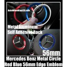 Mercedes Benz Blue Red 56mm Metal Steering Wheel Horn Circle Edge Emblems Badges Aluminum Alloy
