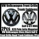 VW Volkswagen Gloss Black Golf 6 GTI Front Grille Hood Rear Trunk Emblems Badges 2Pcs  MK6 GTIs R20 New Polo Jetta Magotan Bonnet Boot Bumper