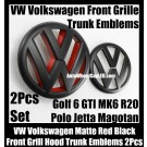 VW Volkswagen Matte Red Black Golf 6 GTI Front Grille Hood Rear Trunk Emblems Badges 2Pcs  MK6 GTIs R20 New Polo Jetta Magotan Bonnet Boot Bumper