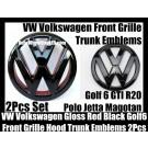 VW Volkswagen Gloss Red Black Golf 6 GTI Front Grille Hood Rear Trunk Emblems Badges 2Pcs  MK6 GTIs R20 New Polo Jetta Magotan Bonnet Boot Bumper