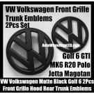 VW Volkswagen Matte Black Golf 6 GTI Front Grille Hood Rear Trunk Emblems Badges 2Pcs  MK6 GTIs R20 New Polo Jetta Magotan Bonnet Boot Bumper