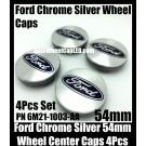 Ford Chrome Silver Blue 54mm Wheel Center Caps Emblems PN 6M21-1003-AA Roundels Focus Fiesta Escape Mondeo 4Pcs Set