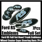 Ford RS Blue Black 7Pcs Wheel Center Caps Steering Horn Hood Trunk Emblems Bonnet Boot Roundels Badges Full Set