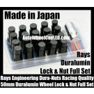 Rays Volk Racing Devil Black Lock Lug Dura Nuts Duralumin Wheels Rims 50mm M12x P1.5 P1.25 Pitch Rims Forged Japan Engineering