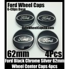 Ford Black Wheel Center Caps Emblems 62mm Roundels Focus Fiesta Escape Mondeo 6-Clips Base 4Pcs Set