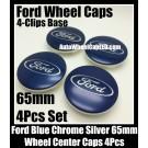 Ford Blue Wheel Center Caps Emblems 65mm Roundels Focus Fiesta Escape Mondeo 4-Clips Base 4Pcs Set