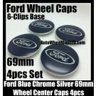 Ford Blue Wheel Center Caps Emblems 69mm Roundels Focus Fiesta Escape Mondeo 6-Clips Base 4Pcs Set