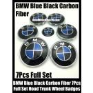 BMW Carbon Fiber Blue Black Wheel Center Caps 68mm Steering Horn 45mm Hood 82mm Trunk 74mm Emblems 7Pcs Bonnet Boot Roundels Badges Full Set