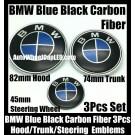 BMW Carbon Fiber Blue Black Steering Horn 45mm Hood 82mm Trunk 74mm Emblems 3Pcs Bonnet Boot Roundels Badges
