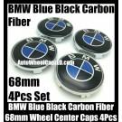 BMW Carbon Fiber Blue Black Wheel Center Hubs Caps 68mm 4Pcs Roundels Emblems Badges
