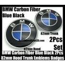 BMW Carbon Fiber Blue Black 2Pcs 82mm Hood Trunk Emblems Bonnet Boot Badges Roundels Set