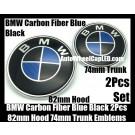 BMW Carbon Fiber Blue Black 82mm Hood 74mm Trunk Emblems Bonnet Boot Badges Roundels 2Pcs Set