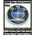 BMW Carbon Fiber Blue Black 82mm Hood Trunk Emblem Bonnet Boot Badge Roundel 2Pins