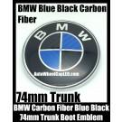 BMW Carbon Fiber Blue Black 74mm Trunk Emblem Boot Badge Roundel 2Pins