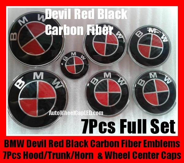Bmw Carbon Fiber Red Black Wheel Center Caps 68mm Steering Horn 45mm