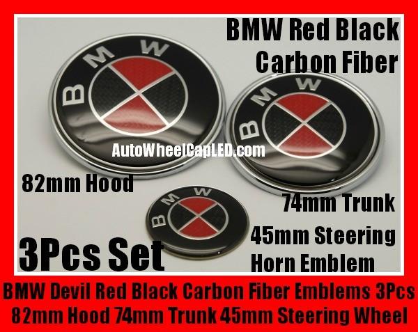 Bmw Carbon Fiber Red Black Steering Wheel Horn 45mm Hood 82mm Trunk