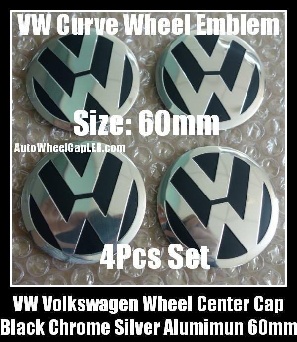 Vw Volkswagen 60mm Black Chrome Silver Wheel Center Cap
