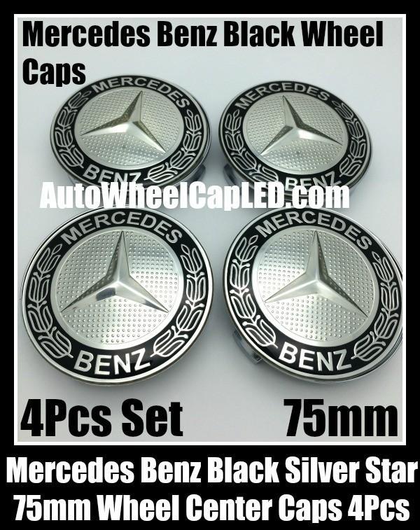 Mercedes benz 75mm black chrome silver star wheel center for Mercedes benz silver star