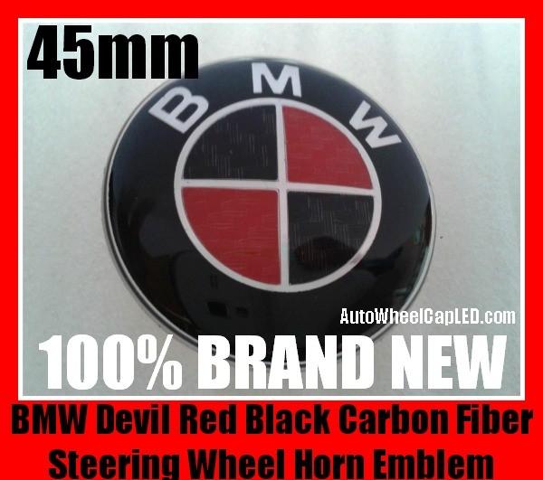 Bmw Devil Red Black Carbon Fiber Steering Wheel Horn Emblem Badge