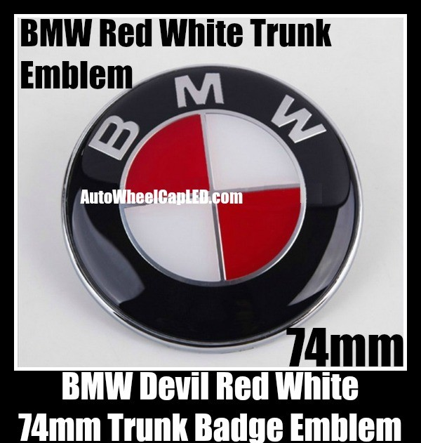 BMW Devil Red White 74mm Trunk Emblems Badge Roundel Boot Aluminium Alloy 2Pins