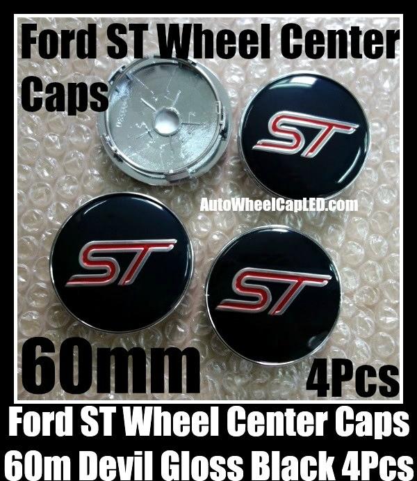 Ford St Black 60mm Wheel Center Caps Emblems Aluminum