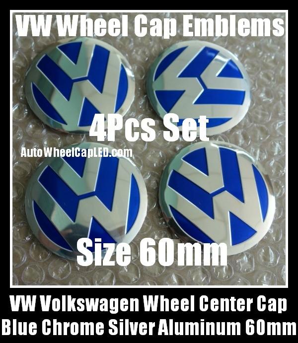 Vw Volkswagen 60mm Blue Chrome Silver Wheel Center Cap