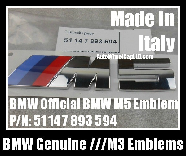 Bmw Genuine M5 Power 5 Series Blue Red Metallic Silver Trunk Rear