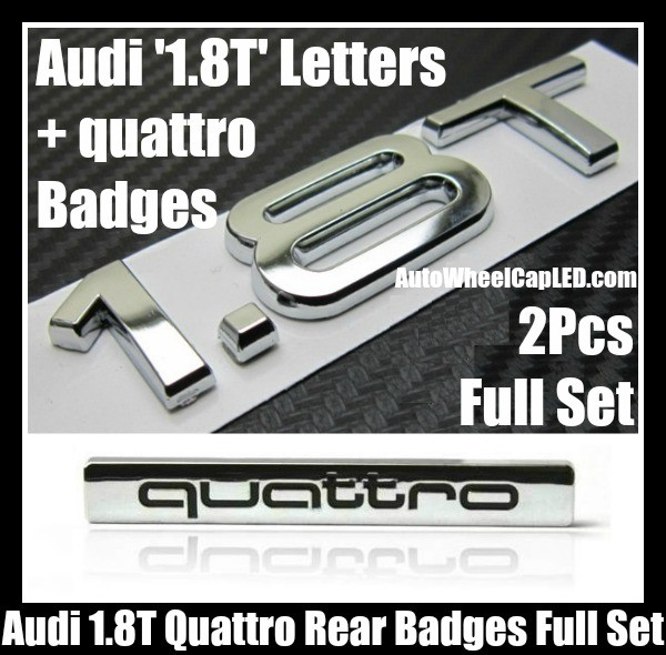 Audi 1 8T Quattro Rear Trunk Black Chrome Silver Letters