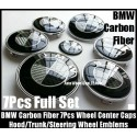 BMW Carbon Fiber Black White Wheel Center Caps 68mm Steering Horn 45mm Hood 82mm Trunk 74mm Emblems 7Pcs Bonnet Boot Roundels Badges Full Set