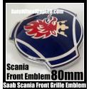 Scania Saab 80mm Blue Front Grille Emblems Badges Aluminium 2Pins