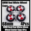 BMW Devil Red White Wheel Center Hubs Caps 68mm 4Pcs Roundels Emblems Badges Aluminium Alloy