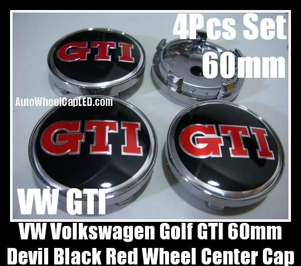 Vw Volkswagen Devil Black Red Gti Wheel Center Caps Emblems