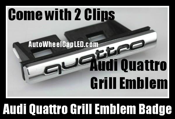 Audi Quattro Front Grill Badge Emblem Black Chrome Silver A3