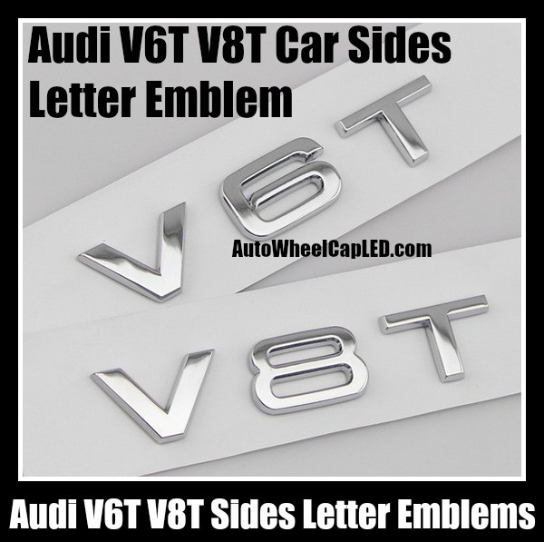 Audi VT VT Car Sides Letter Emblems Left Right Sides Badges Chrome - Audi car emblem