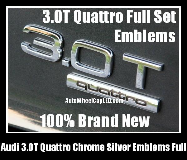 Audi 3 0T Quattro Rear Trunk Black Chrome Silver Letters