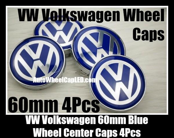 Vw Volkswagen 60mm Blue Chrome Silver Wheel Center Caps Emblems Roundels 4pcs Set