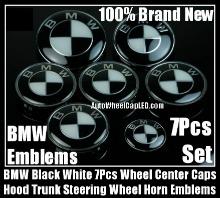 BMW Black White Wheel Center Caps 68mm Steering Horn 45mm Hood 82mm Trunk 74mm Emblems 7Pcs Bonnet Boot Roundels Badges Full Set