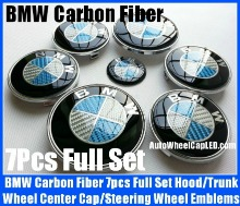BMW Carbon Fiber Blue White Wheel Center Caps 68mm Steering Horn 45mm Hood 82mm Trunk 74mm Emblems 7Pcs Roundels Badges Full Set