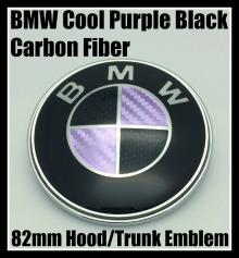 BMW Purple Black Carbon Fiber 82mm Hood Trunk Emblem Roundel Badge 2Pins