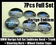 BMW Hartge 7Pcs Emblems 82mm Hood 74mm Trunk 68mm Wheel Center Caps 45mm Steering Horn Black Blue Stripes Full Set